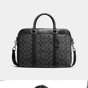 COACH Perry Slim Brief Case Laptop Bag Signature